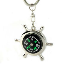 Women Men Portable Alloy Silver Nautical Compass Helm Keychain Ring Chain Gift