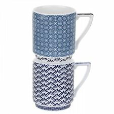 Ted Baker Portmeirion Balfour III & IV Blue & White Stacking Mugs NEW in Box