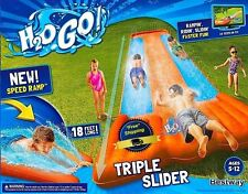 Inflatable Water Triple Slip N Slide Slider Fun Summer Toy Bounce Outdoor Yard