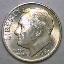 1960 Silver UNCIRCULATED BU Roosevelt Dime Ten Cent Coin from Nice 10c Roll #R