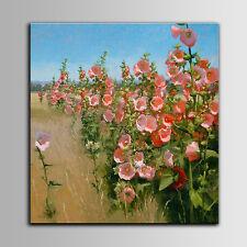 Handgemalte Rosa Blumen Ölgemälde Leinwand Knietief in Weizen Knee Deep in Wheat