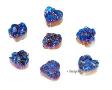 14MM TITANIUM BLUE PIXIE DUST DRUZY GEMSTONE BLUE LOVE HEART 14X14MM 3 BEADS