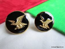 3805 – Two Mother-Daughter Enamel & Brass Eagles in Flight Buttons Boutons