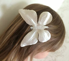 Ivory Satin Large Butterfly Glitter Hair Clip Bridesmaid Flower Girl Wedding