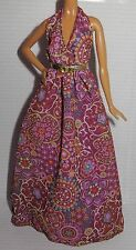 DRESS ONLY ~ BARBIE DOLL MODEL MUSE HIPPIE BOHO CHIC PRINT FESTIVAL HALTER GOWN