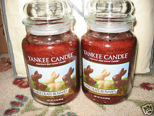 Yankee Candle CHOCOLATE BUNNIES Set of 2  Large Jar 22 oz Candles EASTER