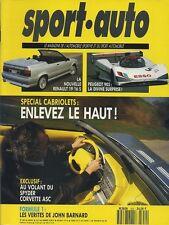 SPORT AUTO n°352 MAI 1991 SPECIAL CABRIO R19 16S cabrio CORVETTE ASC SPYDER