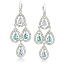 CAROLEE 'Simply Springtime Rain' Green Blue Silver-Tone Chandelier Earrings $65