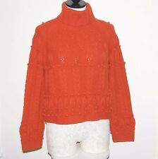 WORTH 100% Cashmere Thick 8ply Cable Knit Orange Crop Turtleneck Sweater M