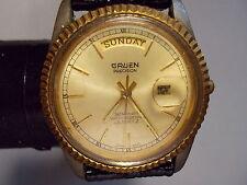 GRUEN PRECISION MENS QUARTZ WATCH W/DAY & DATE GOLD TONE  -  PRE-OWNED