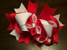 New hair bow red & white grosgrain ribbon, feather accent on barrette 4 3/4""