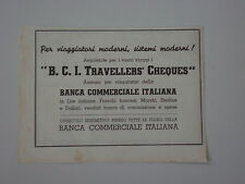 advertising Pubblicità 1935 BCI TRAVELLERS CHEQUES