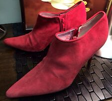BEVERLY FELDMAN Dk Pink Ankle Fashion High Heel Boots Shoes Sz 9M