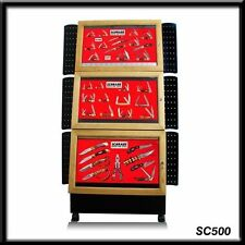 NEW IN BOX SCHRADE SC500 VERY LARGE WOODEN 3 PIECE FLOOR KNIFE DISPLAY CABINET
