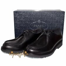 PRADA VITELLO RODEO BLACK LEATHER LACED DERBY SHOES 2EE180 NEW 10 US 43 EU $820
