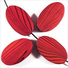 4 Perles en bois Ovales plates 20 x 30 mm Rouge Rubis Décoré