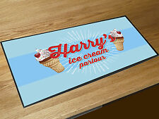 Personalised Blue Ice Cream Parlour counter mats bar runner