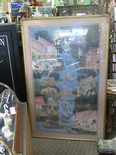 LARGE INDONESIAN OIL PAINTING ON CLOTH FRAMED RIVER SCENE