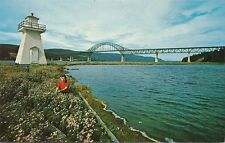 Postcard Nova Scotia Cape Breton The Bras d'Or Lakes Bridge & Lighthouse c1950s