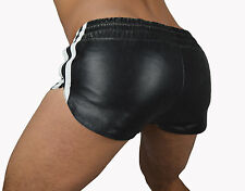 new SPORTS LEATHER SHORTS WITH LEATHER LINING AND STRIPES,HOTPANTS ledershorts