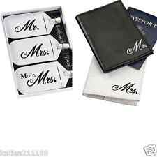 New wedding Mr & Mrs black and white luggage tags & passport covers gift set
