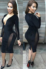 Mini Abito cono aperto nudo trasparente aderente Sheer Mesh Bodycon Club Dress