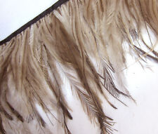 F470 PER 30cm-Natural Brown Emu Ostrich feather fringe Trim Fasincator Material