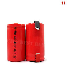 2 x Sub C 1.2V 3400mAh NiMH Rechargeable Battery red