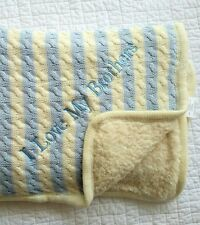 New Pottery Barn Kids Baby Boy Emerson Stripe blanket I LOVE MY BROTHERS mono