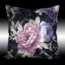 """2X PURPLE PEONY BLACK BOTH SIDES VELVET THROW PILLOW CASES CUSHION COVERS 17.5"""""""