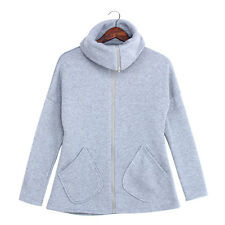 Womens Oversized Zipper Winter Jackets Coat Hoodies Pullovers Parka Outwear Gray