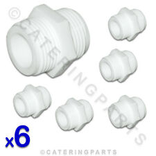 "6 x 3/4"" BSP STRAIGHT WHITE PLASTIC NYLON CONNECTOR FOR WASHING MACHINE HOSE"