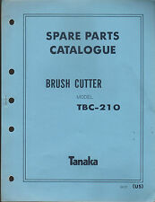 TANAKA BRUSH CUTTER MODEL TBC-210   PARTS MANUAL