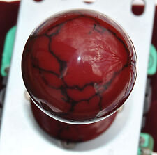 "Custom Hand Made Sanwa Ball Top ""Real Stone"" Burgundy Marble ""The Blood Stone"""