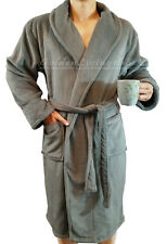 High Quality Men Grey Shawl Collar Velour Plush Thick Bath Robe Spa & Hotel