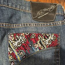 Ed Hardy Women's Distressed Med Rinse Jeans Colorful Rhinestone Bling 31 EUC