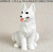 German Shepherd Mini Resin Dog Figurine Statue Hand Painted White