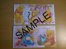 WINNIE THE POOH NOVELTY 500 EURO BANK NOTE  BIRTHDAYS, CHRISTMAS GIFT BANKNOTE