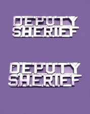 """Deputy Sheriff Collar Pin 1/4"""" Device Cut Out Letters Set of 2 Nickel P2217 New"""