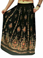 Black Ladies Indian Party Boho Gypsy Hippie Long Sequin Skirt Rayon Belly Dance