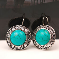 Hot Vintage Women Turquoise Stone Ear Stud Hoop Earrings Tibetan Silver Jewelry