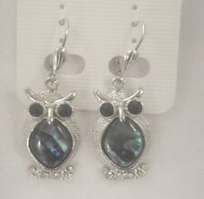 Earrings Owl Abalone Shell rhinestone new bird