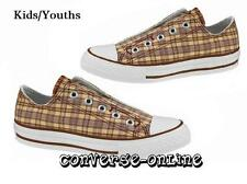 Kids Boy Girl CONVERSE All Star LACELESS  PLAID SLIP ON Trainers Shoe UK SIZE 11