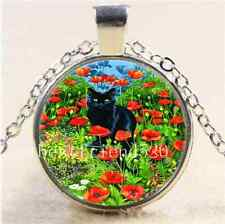 Black Cat In The Garden Cabochon Glass Tibet Silver Chain Pendant  Necklace