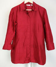 Chico's 2 Top Red Silk Blouse Misses L