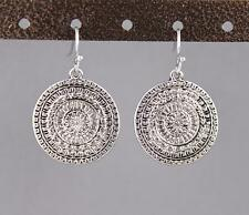"antiqued silver earrings medallion coin dangle drop 1.25"" long lightweight"