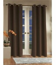 2 BROWN COFFEE PANEL THERMAL LINED BLACKOUT GROMMET WINDOW CURTAIN DRAPE MADONNA