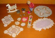 Puppenhaus schöne Kleinigkeiten Topfpflanze Putzzeug Tischdecke Bügeleisen antik