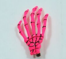 Skeleton Hand Hair Clip Hot PINK Halloween Costume Spooky Creepy