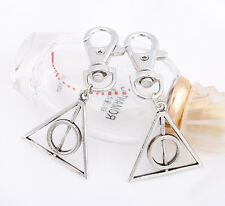 1P Movie Harry Potter Deathly Hallows Triangle Keyrings Key Chains Ring Gift Bag